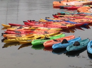 Colorful kayaks in Rockport, Mass.